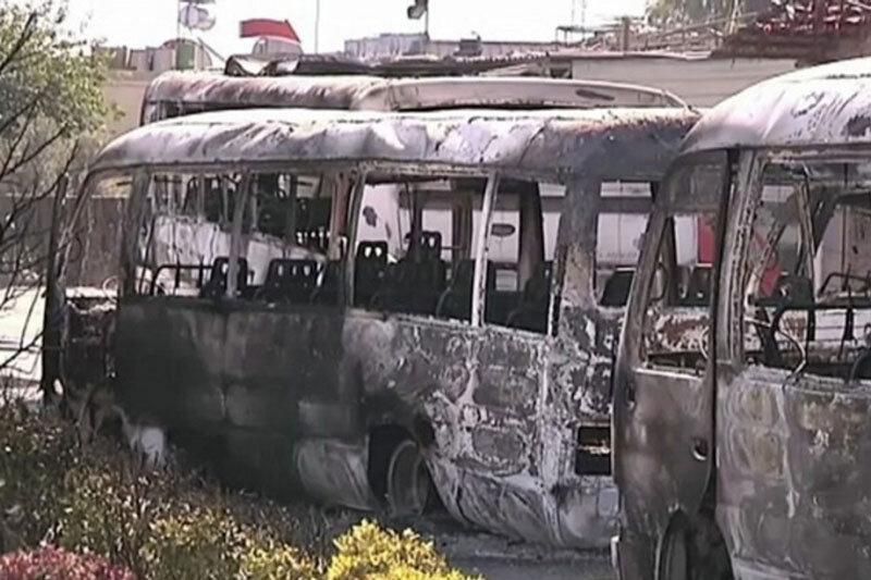 ببینید | انفجار اتوبوس در دمشق؛ جان باختن ۱۳ نظامی سوری